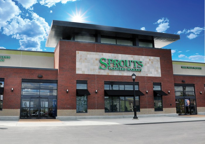The entrance to a Sprouts supermarket