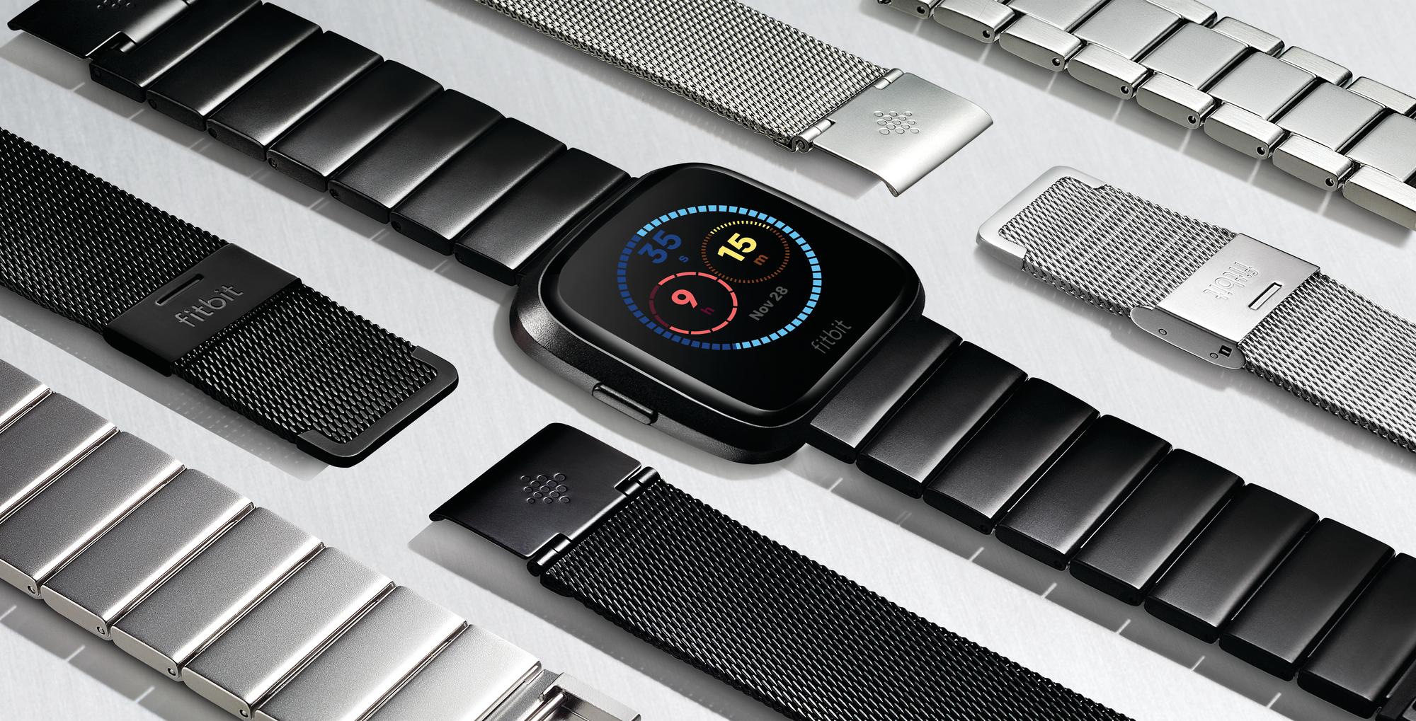 Fitbit Versa alongside various watchbands