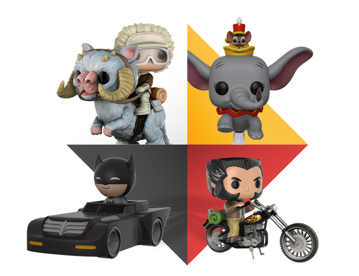 Montage of Funko collectible toys based on popular movie characters.