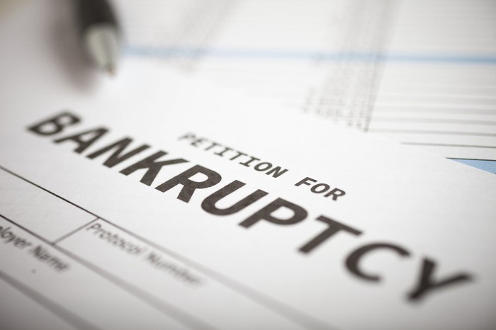 """Image of a a document entitled """"petition for bankruptcy""""."""
