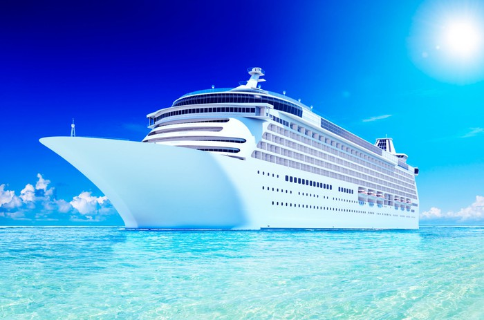 Cruise ship on blue water