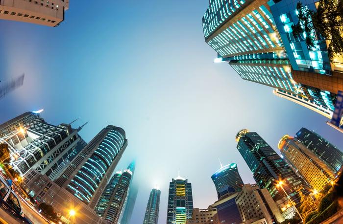 Image of Shanghai skyscrapers from below
