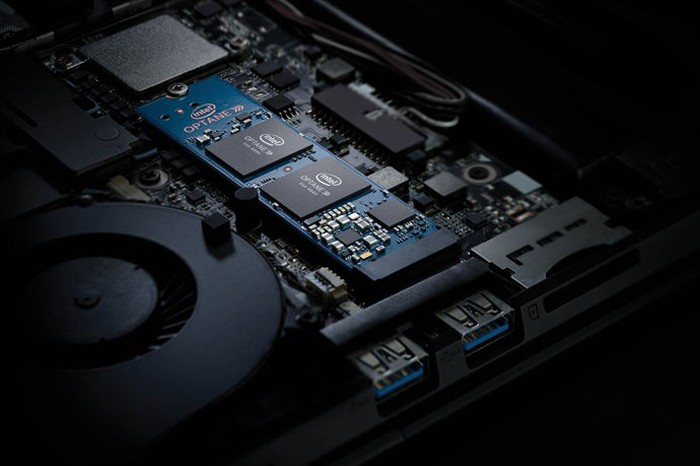 An Intel Optane solid-state drive inside a computer.