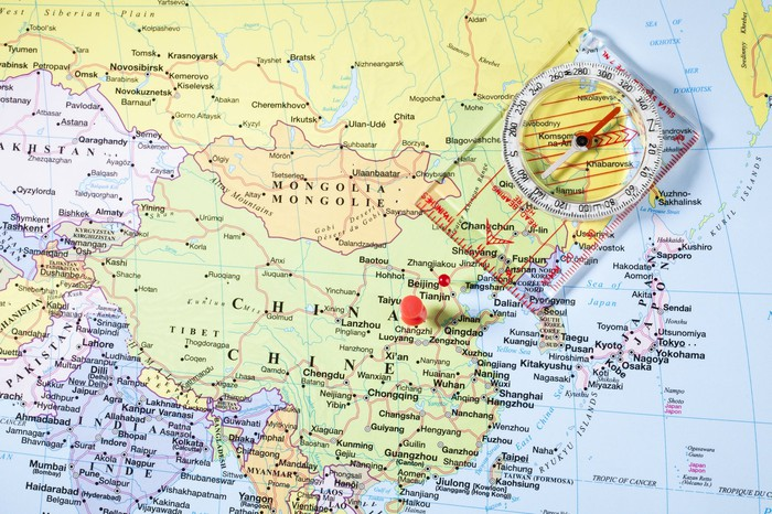 A red pin located on a map of China.
