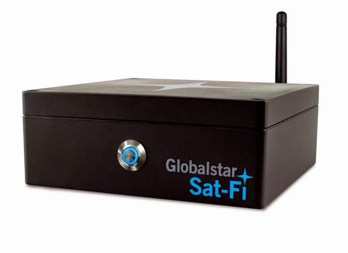 Globalstar's Sat-Fi wireless hotspot against a white background.