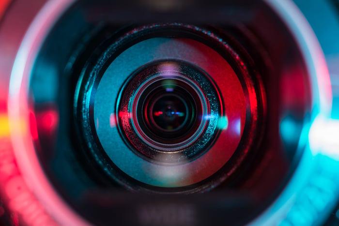 A video camera lens.