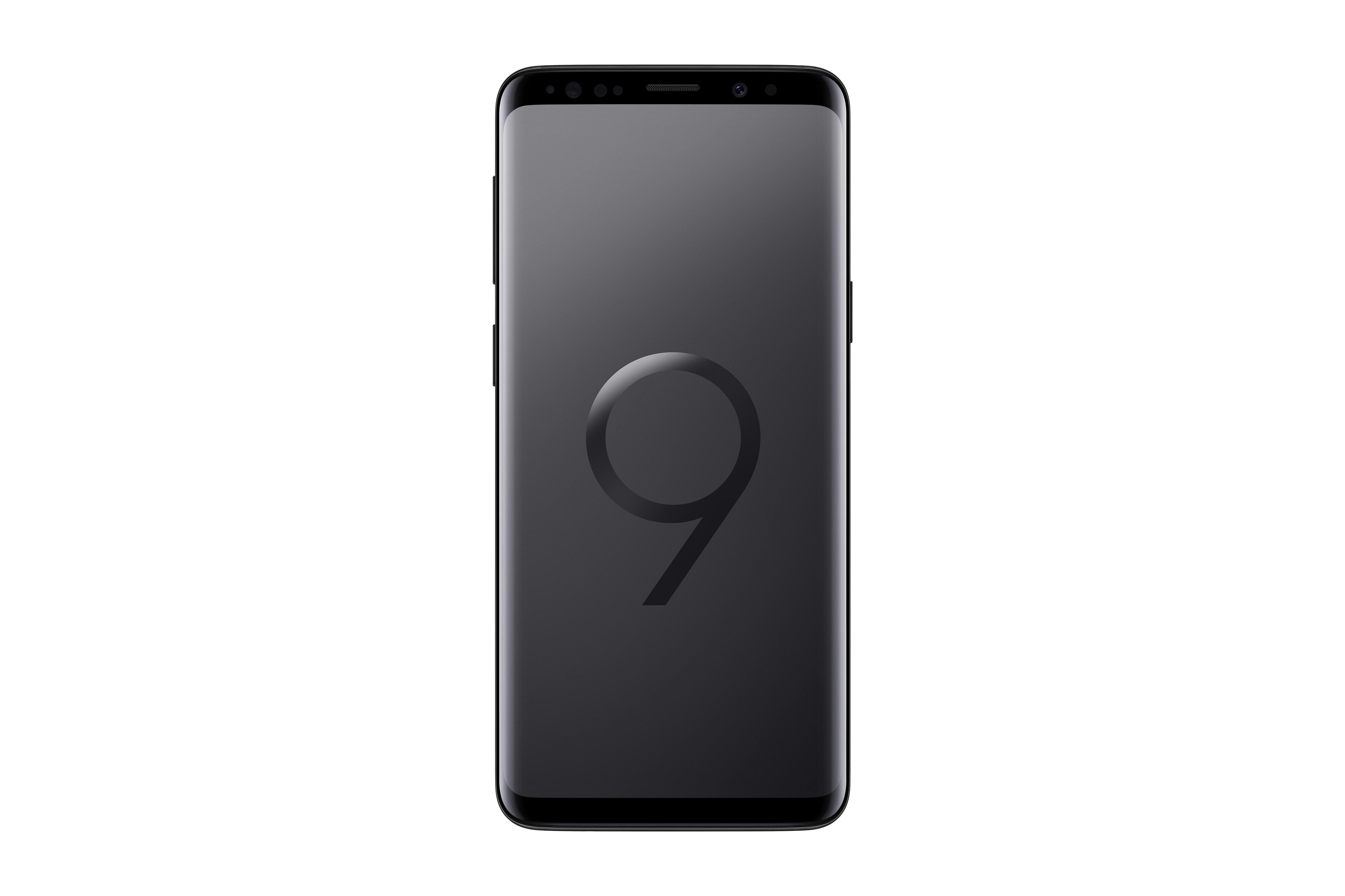 The Samsung Galaxy S9 in black.
