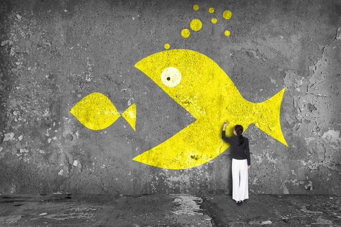 Artist painting a mural on a grey concrete wall, depicting a large yellow fish swallowing a smaller yellow fish.