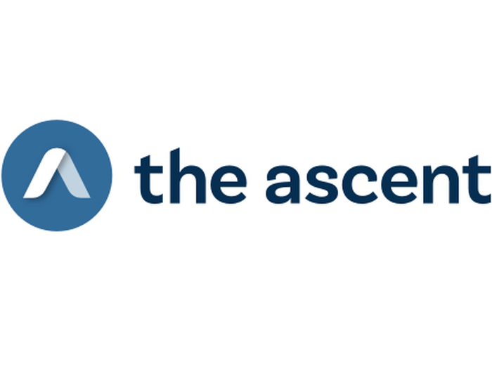 """blue circle with two white intersecting lines making up two sides of an equilateral triangle, next to lower-case dark blue letters """"the ascent"""""""