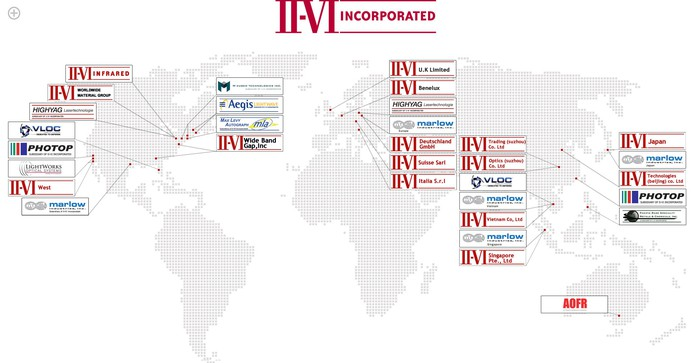 Map showing II-VI locations.