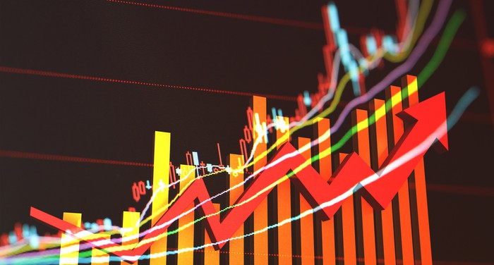 Red charting arrow on the rise, set against a backdrop of growing bar charts and stock-chart squiggles.