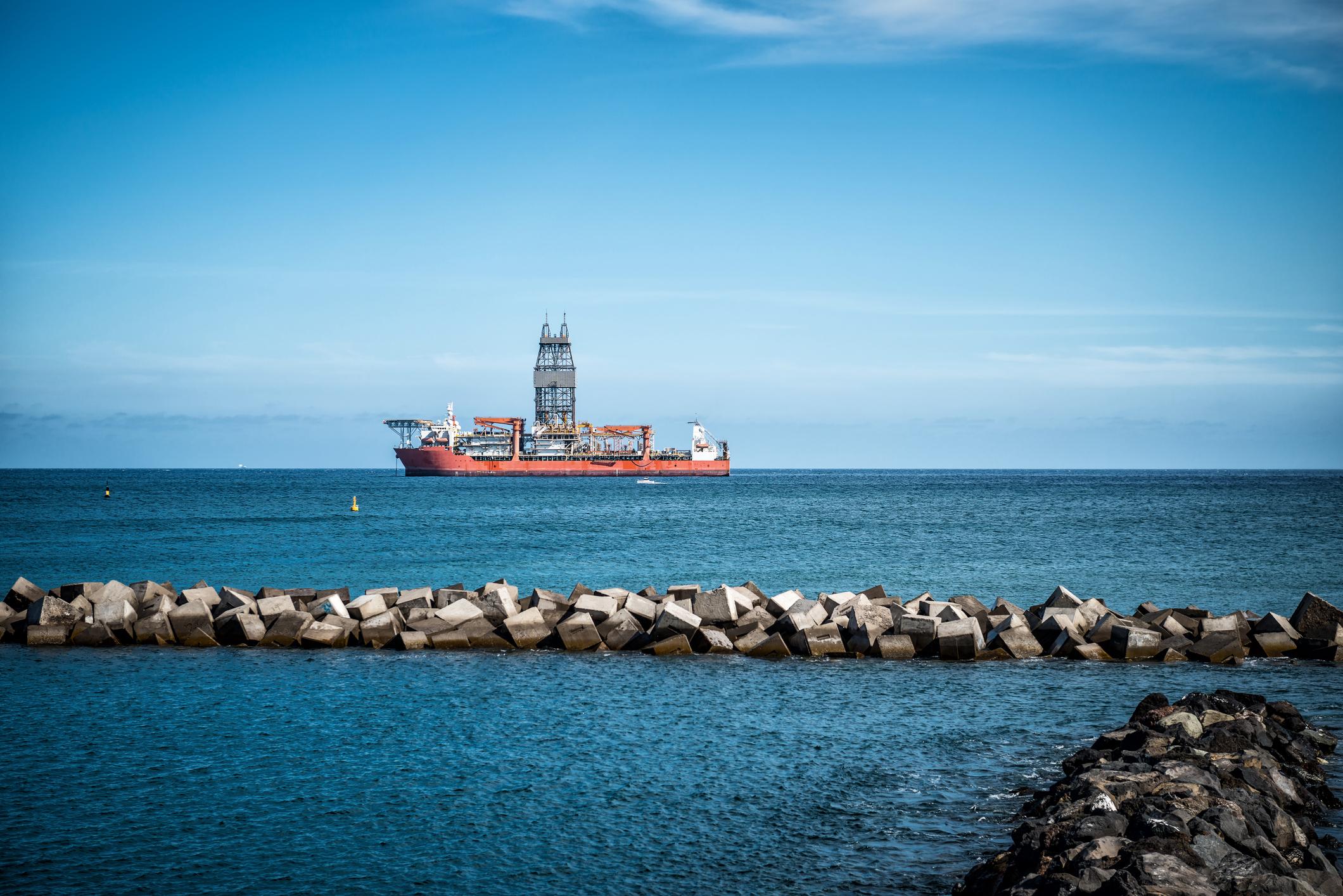 Drillship at sea.