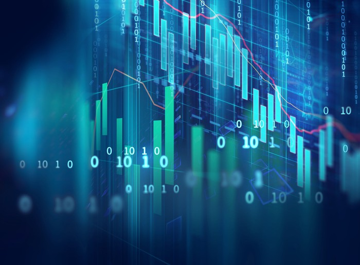 Stock chart with bars and numbers.
