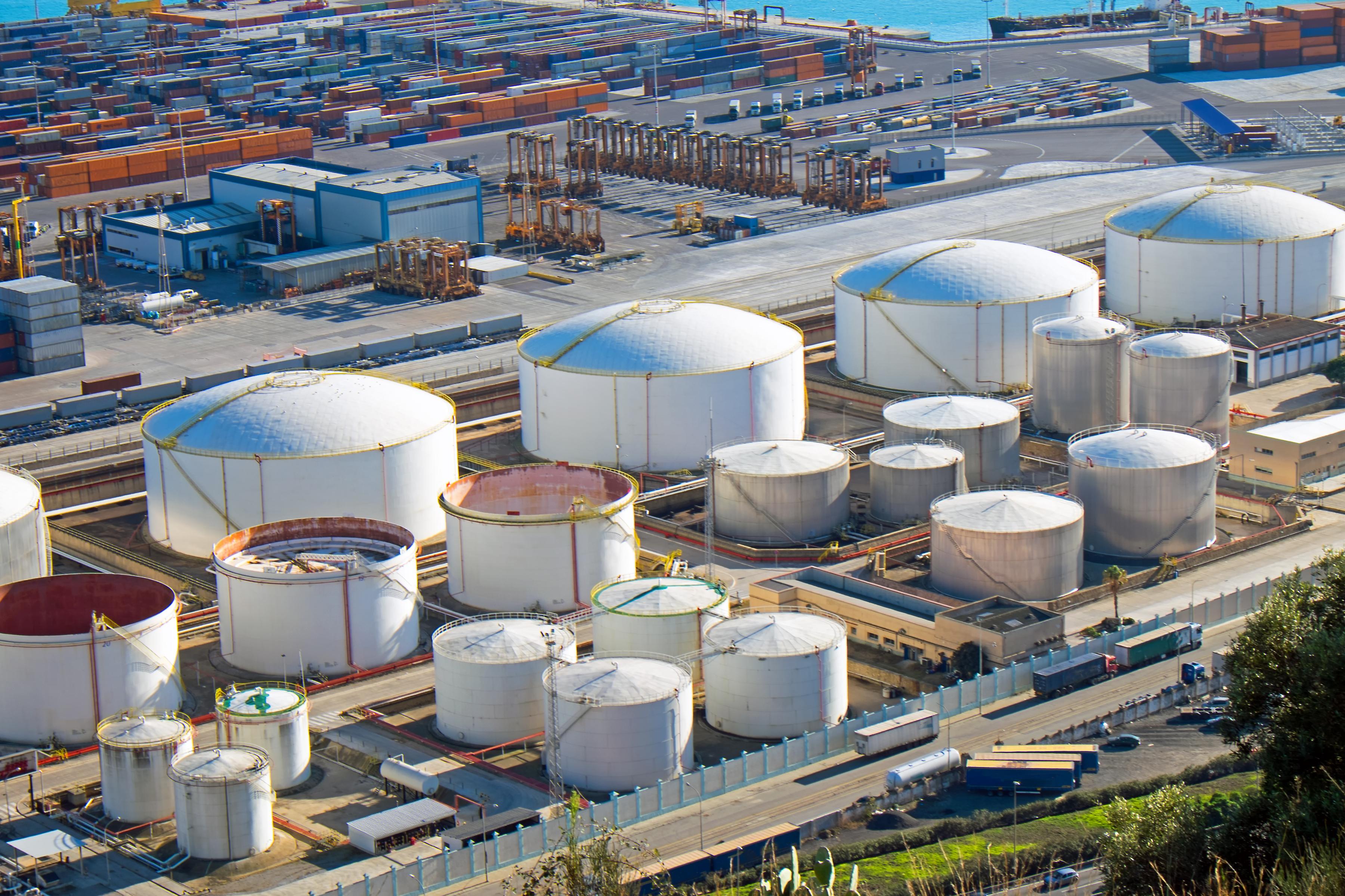 Oil storage terminal.