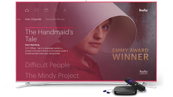 Hulu streaming on a TV with a Roku device