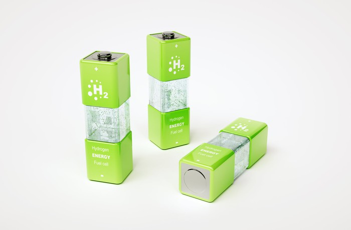 Labeled hydrogen energy fuel cell, three batteries are positioned next to each other.