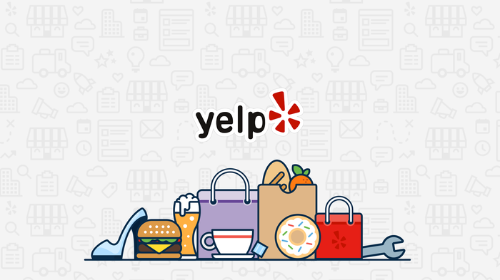 Cartoon pile of goods, including shoe, burger, ice cream float, teacup, plate, and wrench, with Yelp logo above.