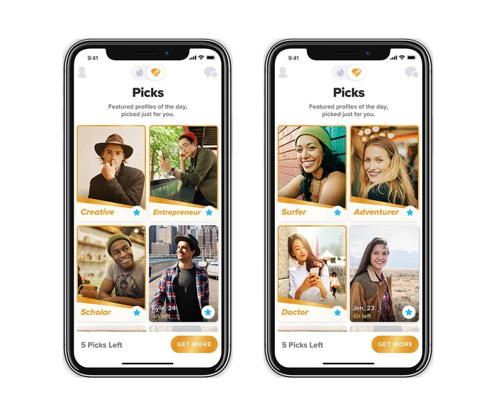 Two screenshots showing Tinder Picks on a mobile phone.