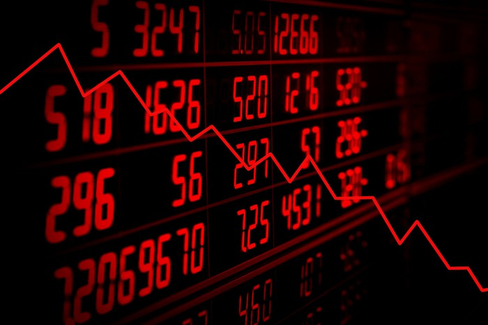 Display of red electronic board of stock quotes with down trend graph.