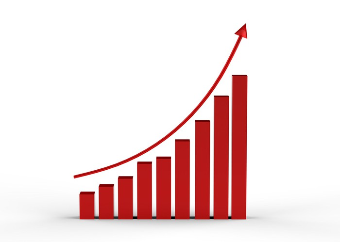 A curve moving up from left to right over a bar chart.