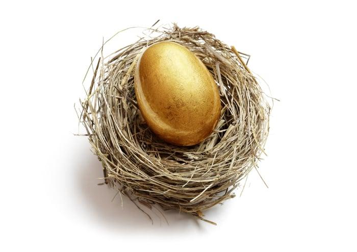 A golden egg in a nest.