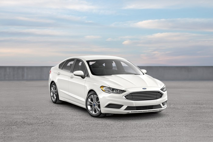 A white Ford Fusion
