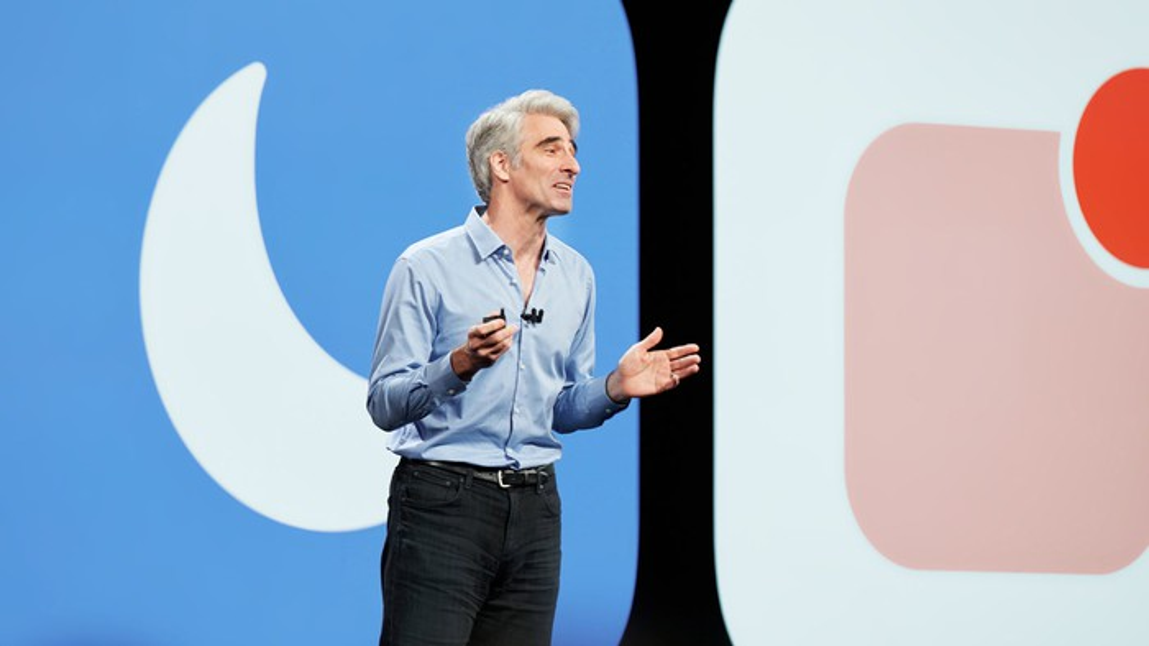 Apple executive Craig Federighi on stage.