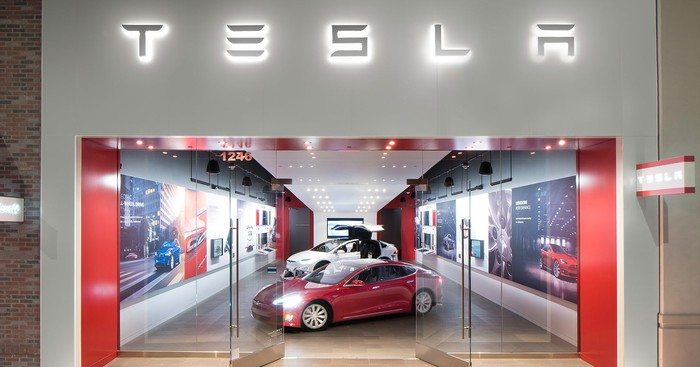 The facade of a Tesla store in a mall in Walnut Creek, California.