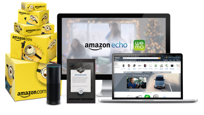 Branded Amazon boxes, an Echo smartspeaker, a Kindle fire dsiplaying an ad, and a desktop and laptop displaying the Amazon ad platform.