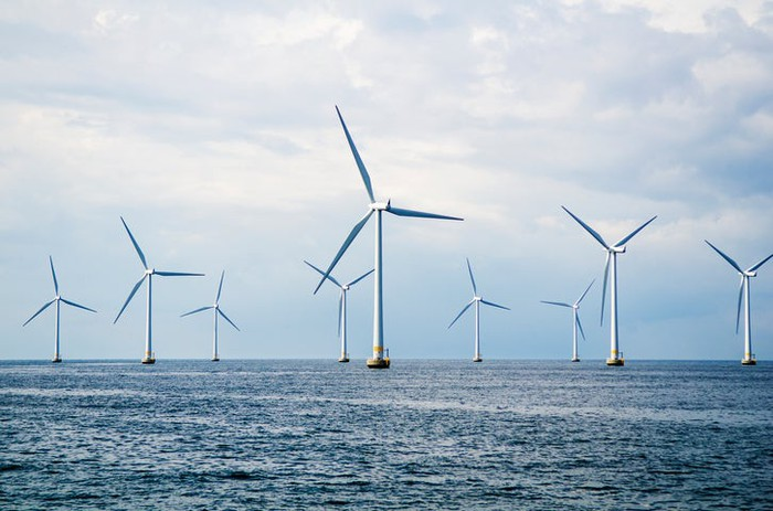 An offshore wind farm.
