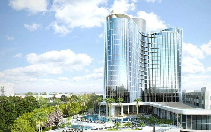 Concept art of Aventura, Universal Orlando's sixth resort.