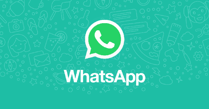 WhatsApp logo on a background of various icons.