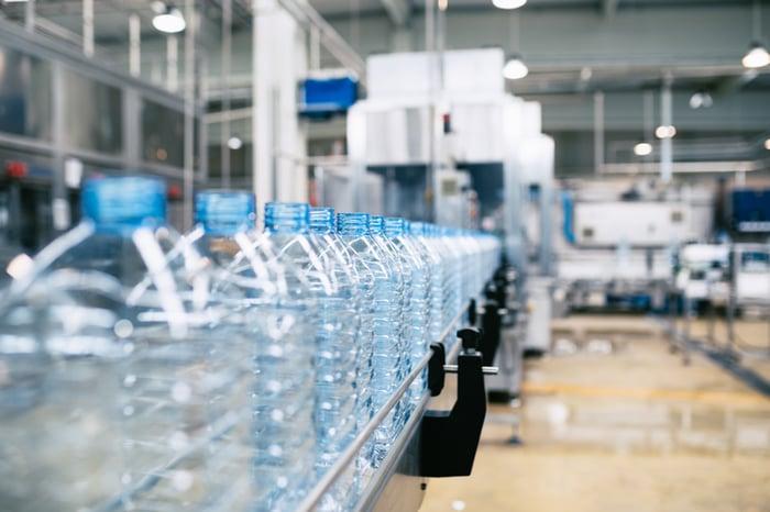 A plant producing plastic bottles