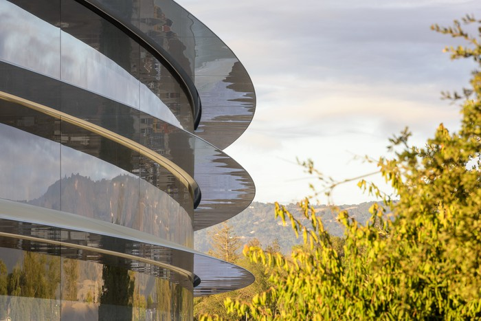 Side of Apple Park campus building