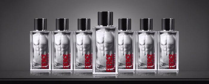 Seven bottles of branded cologne.