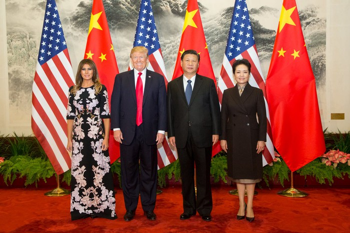 President Trump and wife Melania meet with China President Xi Jinping and his wife.
