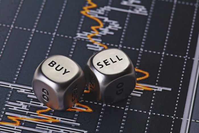 "Dice with ""buy"" and ""sell"" on them sitting on top of a chart"