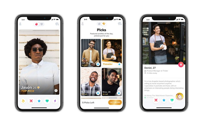 3 iPhone screenshots showing Tinder Picks.