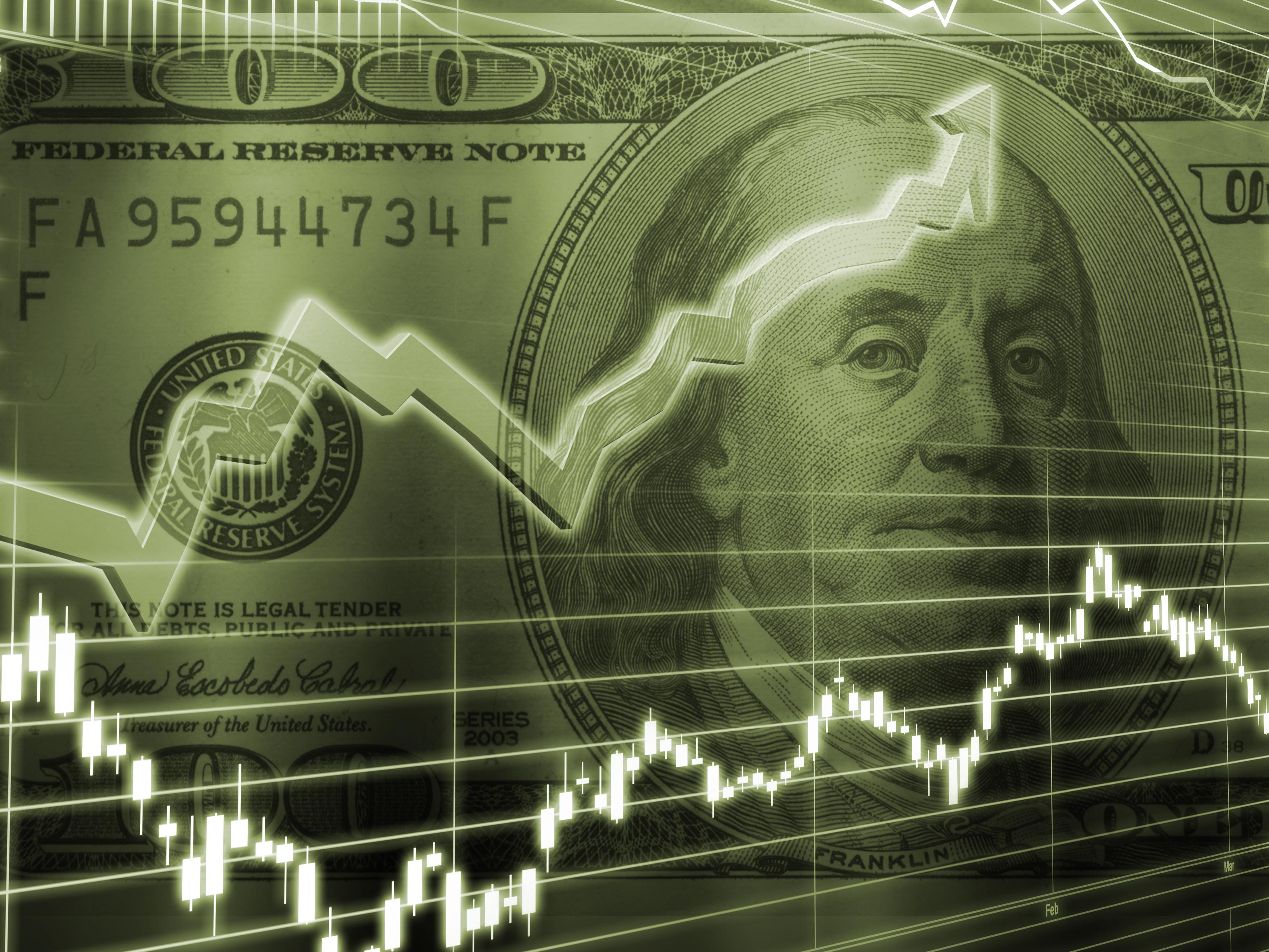 Ben Franklin 100 Dollar Bill with Stock Market overlay.