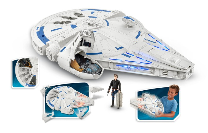 A model of The Millennium Falcon from Solo: A Star Wars Story.