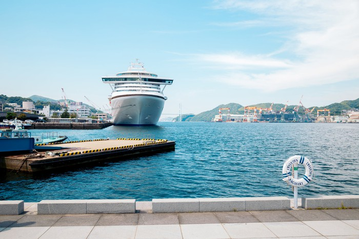 Cruise ship at Dejima Wharf, Nagasaki, Japan.