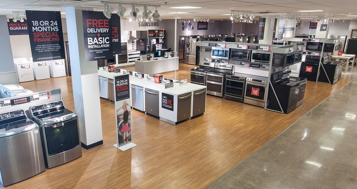 A J.C. Penney appliance showroom featuring washing machines, dish washers, and ovens.