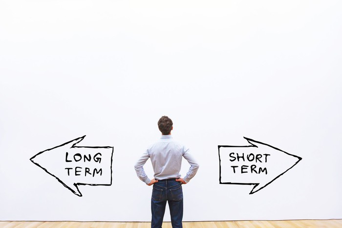 Man looking at a white wall with two arrows pointing in opposite directions. One says short term, the other says long term