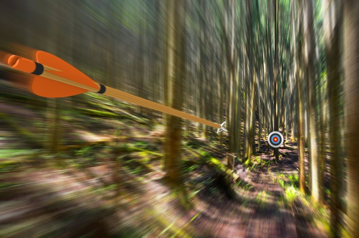 An arrow speeding toward a bull's-eye amid a grove of trees.