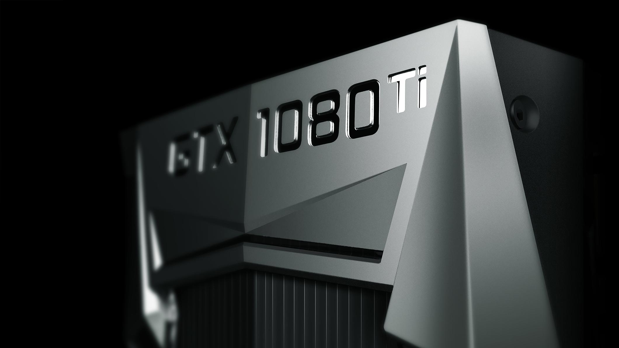 NVIDIA's GTX 1080 Ti GPU against a black background.