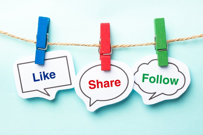 on a clothesline are pinned the words like, share, and follow