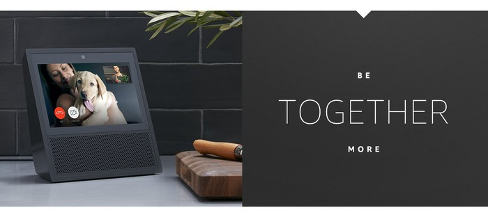 Amazon's Echo Show is shown, along with the words be together more.