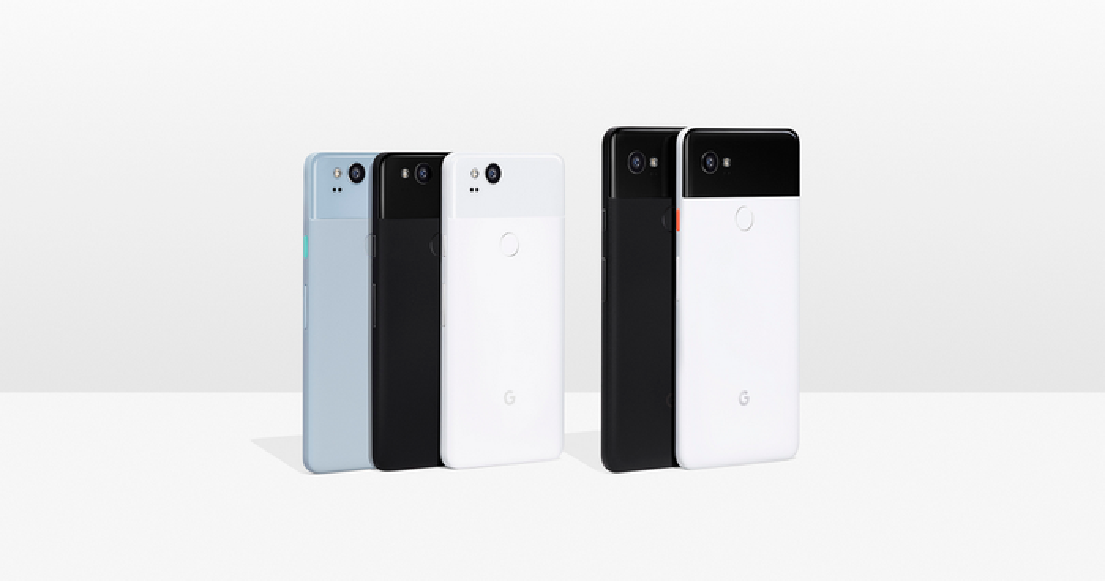 Five Google Pixel 2 devices.