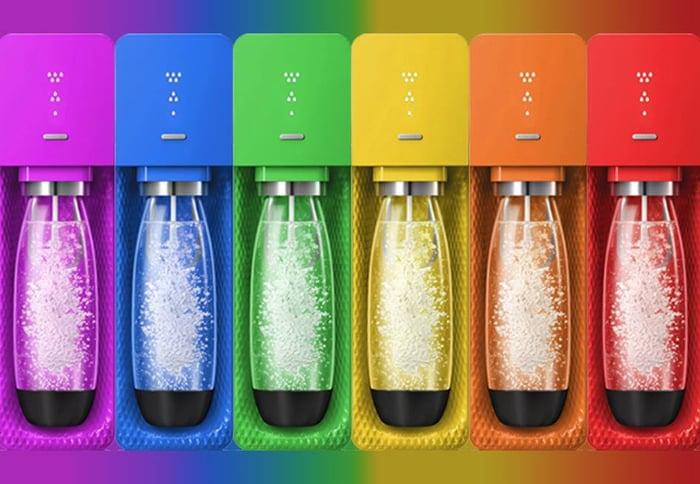 SodaStream machine in rainbow colors.