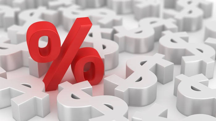 Percent symbol in vivid red against a field of dollar symbols, indicating importance of rate percentages to money.